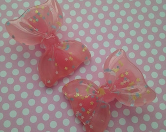Pink Star Bow Hair Clips