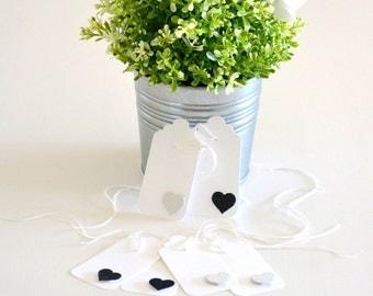 Wedding Favor Tags - Glitter Heart Tags 12 Pk - Gift Tags - Black and White Wedding Tags - Bridal Shower Tags - Wedding Bonboniere - WEDF022