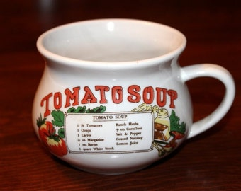 vtg Tomato Soup Recipe Crock Bowl - vintage soup cup - vintage soup mug - vintage soup bowl - tomato soup - great shape - rare