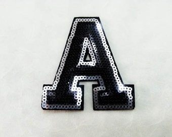 Alphabet Letter A Iron on Patch - Black Sequin A, Glitter Applique Embroidered Iron on Patch - Size 6.8x7.5 cm#T1