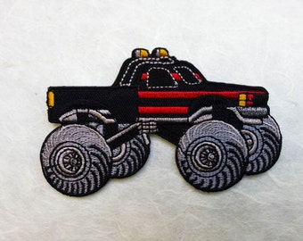 Monster Truck Iron on Patch( L) 9.8 x 5.7 cm - Monster Truck Applique Embroidered Iron on Patch