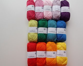 Yarn bundle of 13 colours creative cotton aran crochet yarn Rico Design 50 g 85m (92 yards) machinewashable needle size 4-5 EU (US 6-8)