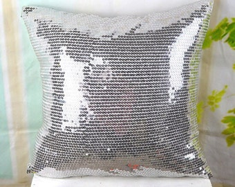 2 Silver sequin cushions