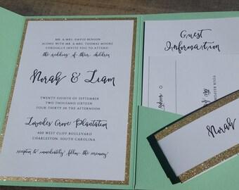 Wedding Invitation Suite, Wedding Invitation, Pocketfold Wedding Invitation, Mint and Gold, Glitter, Script, Pocket Fold