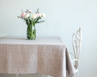 Captivating Linen Tablecloth   Dining Tablecloth   Stone Washed Tablecloth   Grey Polka  Dot Tablecloth   Rustic