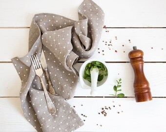 Linen Tea Towel with polka dots made of stone washed flax material