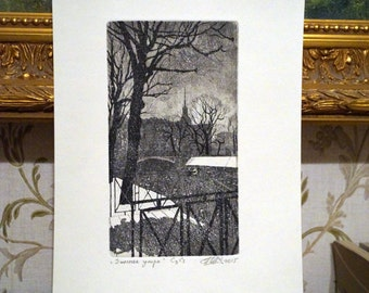 Winter morning. An Original Etching with Aquatint Print