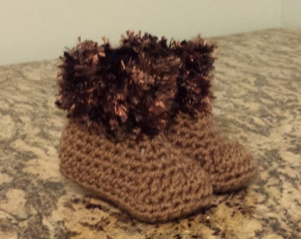 Brown fur trimmed Style Baby Booties