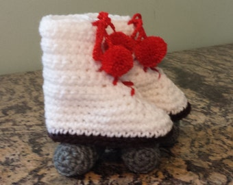 Roller Skate Style baby booties with red pom poms