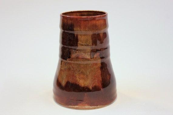 Items similar to handmade brown handleless ceramic coffee tea wine mug stoneware pottery on etsy - Handleless coffee mugs ...