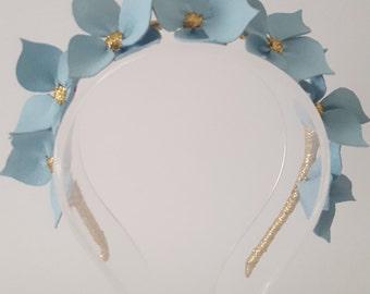 CELESTE  Light Blue Leather Crown,Headband, Leather Flower Headpiece, Wedding Fascinator