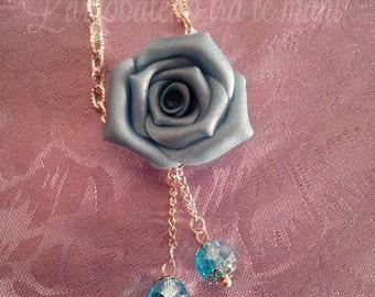Collana rosa azzurra perla Necklace light blue pearl rose