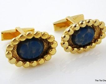 Vintage Cufflinks Gold Tone Light Blue Speckled Stone