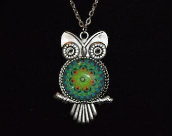 "Mandala Owl Necklace - ""Katrina"", 24"" Silver-Tone Chain"