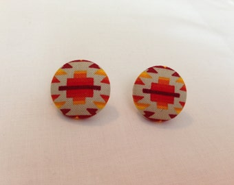 Tribal Printed Button Earrings