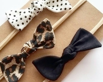 Baby headbands, Bitsy knot bow set {Leopard} black bows, leopard bows, hair bows, nylon headbands