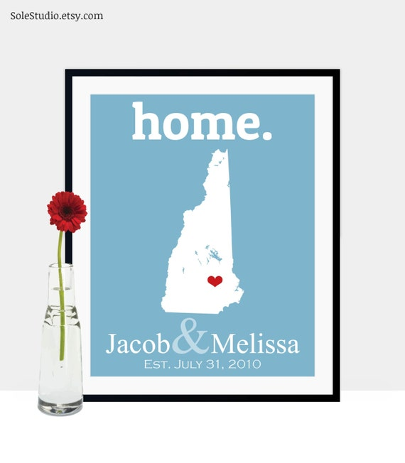 Traditional 17th Wedding Anniversary Gifts: 17th Anniversary Gift Personalized New Hampshire Art By