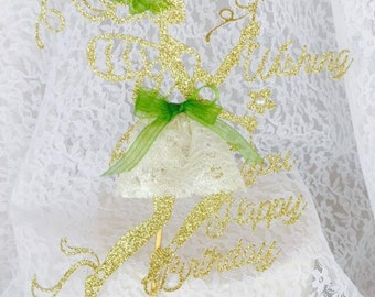 Fairy Cake Topper - Wishing You Happy Birthday - Fairy Birthday Party - Girl Party - Fantasy Party - Custom Colors - Party Decorations