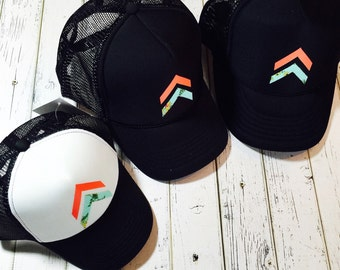 Cute hat, womens hat, chevron design, chevron hat, floral hat, coral fashion, mint fashion