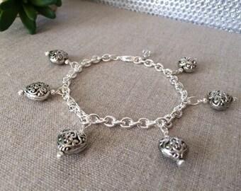 Silver Heart Bracelet, Antique bracelet, Silver Charm Bracelet, Large Hearts Jewelry, Chunky Bracelet
