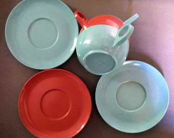 Vintage Melmac Coffee Cups Saucer Set Blue Orange Retro Coffee Cups Tea Cup Simple Cup Classic Coffee Lover Gift 60s DInnerware Collectible