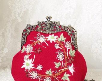 Cute Handmade Felted Frame Bag with Wreath