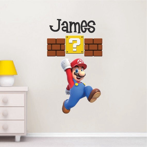 Super mario wall decal nintendo wall decal personalized wall - Mario wall clings ...