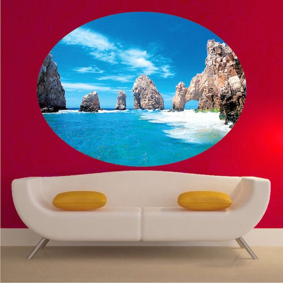 Beach decal beach wall mural beach wall art tropical wall for Beach wall mural sticker