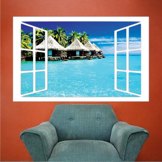Vinyl mural window beach view wall decal sticker window mural for Beach view wall mural