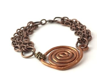 Copper Bracelet - Chain Bracelet - Mothers Day Gift Ideas -Copper Spiral - Hammered Copper - Womans Bracelet - Boho Bracelet - Rustic