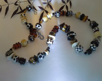 Hand made Moretti glass  necklace lampwork beads