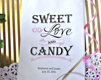 Personalized Wedding Paper Candy Bags - Wedding Favor Bags - Candy Bags Wedding - Love is Sweet - 24 BAGS WTB09q