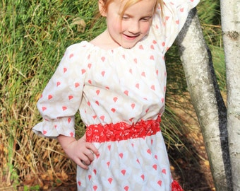 DRESS SALE...Little Girls Peasant Dress, Little Girls Taupe and Coral Dress, Girls Peasant Dress, Size 2, Size 4, Size 5 Ready to Ship