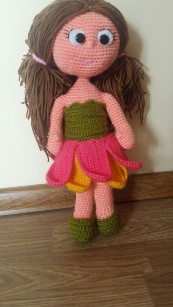 Items similar to Crochet flower girl fairy doll ...