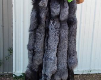 Huge Tanned Silver Fox Hide