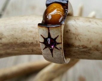 Deer antler Ring with Tiger Eye center stone and deep purple Swarovski crystals