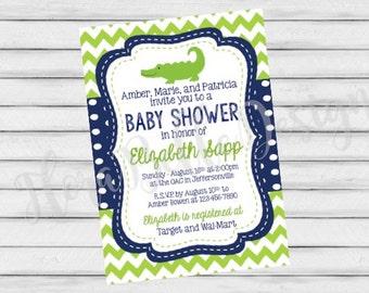 alligator baby shower invitation | etsy, Baby shower invitations