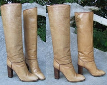 Chic 1960's Souliers Sacha of Paris Size US 5.5/UK 4.5  Italian Leather Knee High Straight Leg Boots | Vintage Ladies Boots