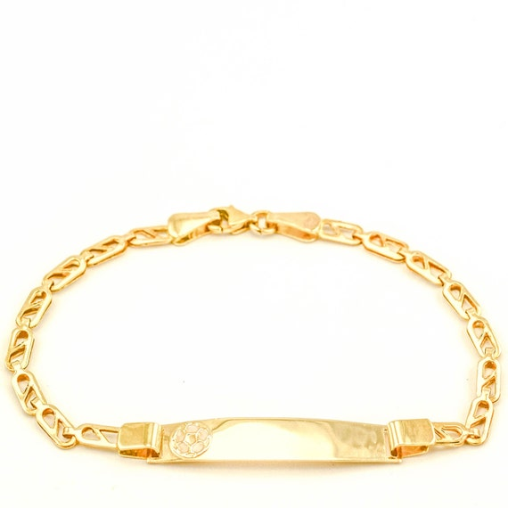 baby id bracelet gold soccer by 24jewels on etsy