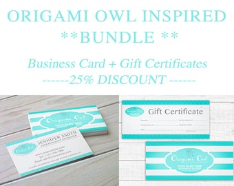 Origami Owl Inspired BUNDLE - SAVE 25% - Business Cards + Gift Certificates - Digital Download - PRINTABLE