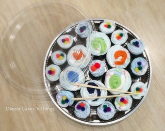 Diaper Cake, Sushi Diaper Cake, Baby Gift, Baby Shower, First Birthday, Baby Birthday, Sushi, Gift, Gift Set