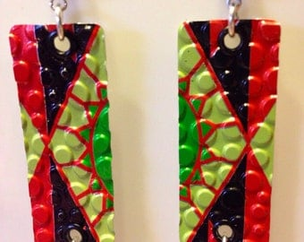 Bright and Colorful Up-cycled Arizona Watermelon Punch Can Earrings, pop can jewelry