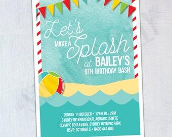 Let's Make A Splash Personalised Birthday Invitation