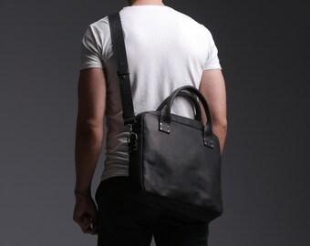 Leather Bag, Men's Leather Bag, Leather Briefcase, Leather Shoulder Bag, Men's Bag, Messenger Bag, Laptop Bag, Business Bag, Black Bag, Gift