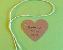 100 Heart tags kraft tags jewelry tags custom tags mini tags gift tags price tags hang tags etsy seller supplies personalized tags labels