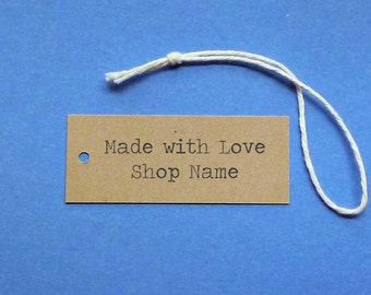 50 Made with Love tags personalized tags kraft tags merchandise tags custom tags gift tags price tags hang tags product tags packaging label