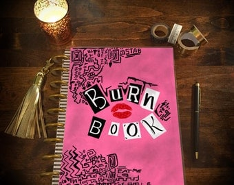 Burn Book Mean Girls Laminated Planner Cover for Erin Condren Life Planner, Plum Paper Planner, or Happy Planner