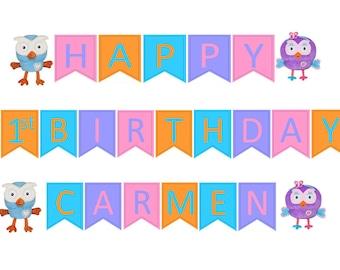 1st Birthday Custom made Hoot/Hootabelle Happy Birthday & Name Bunting set