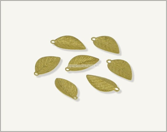 50 pc.+  Leaf Charm, Leaf Pendant - Raw Brass