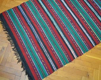 Rag Rug, Kilim rag rug, Woven Rug, Boho Chic Shabby Rugs, Hippie Decor, Rag Rug Runner,  Runner Cotton Loomed Rug, 10.24 ft/3.02 ft